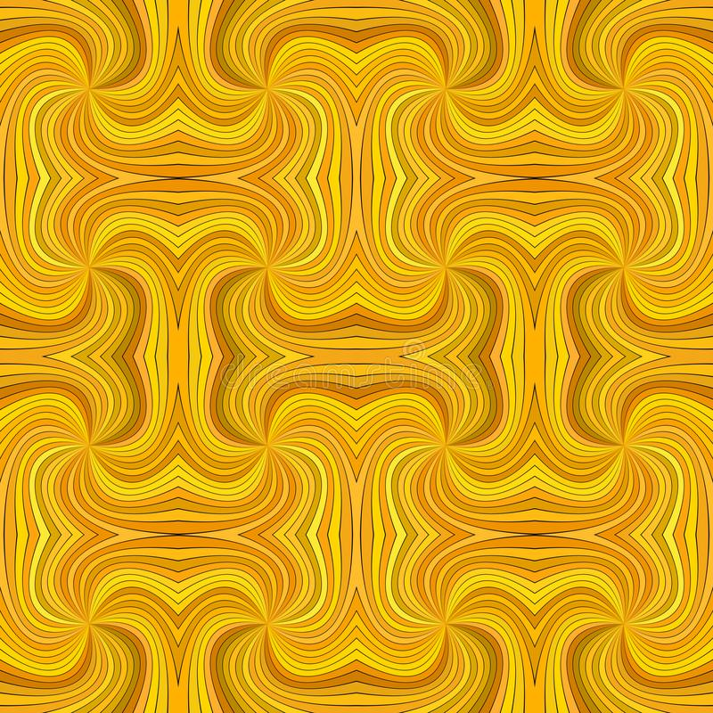 Orange seamless psychedelic abstract spiral stripe pattern background. Vector curved burst graphic design stock illustration