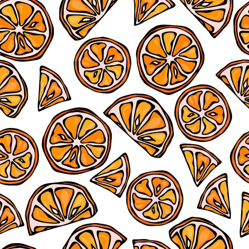 Orange Seamless Slices Background. Pattern of Citrus. Doodle Style Vector Illustration. stock illustration