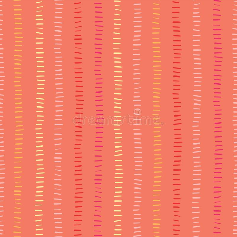 Orange seamless vector background hand drawn vertical lines. Hand drawn doodle strokes. Green hues textured backgound. Abstract royalty free illustration