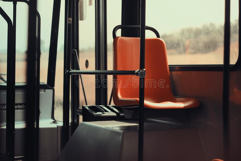 Orange Seat Bus Public Transit Poles MTA Transportation stock photography