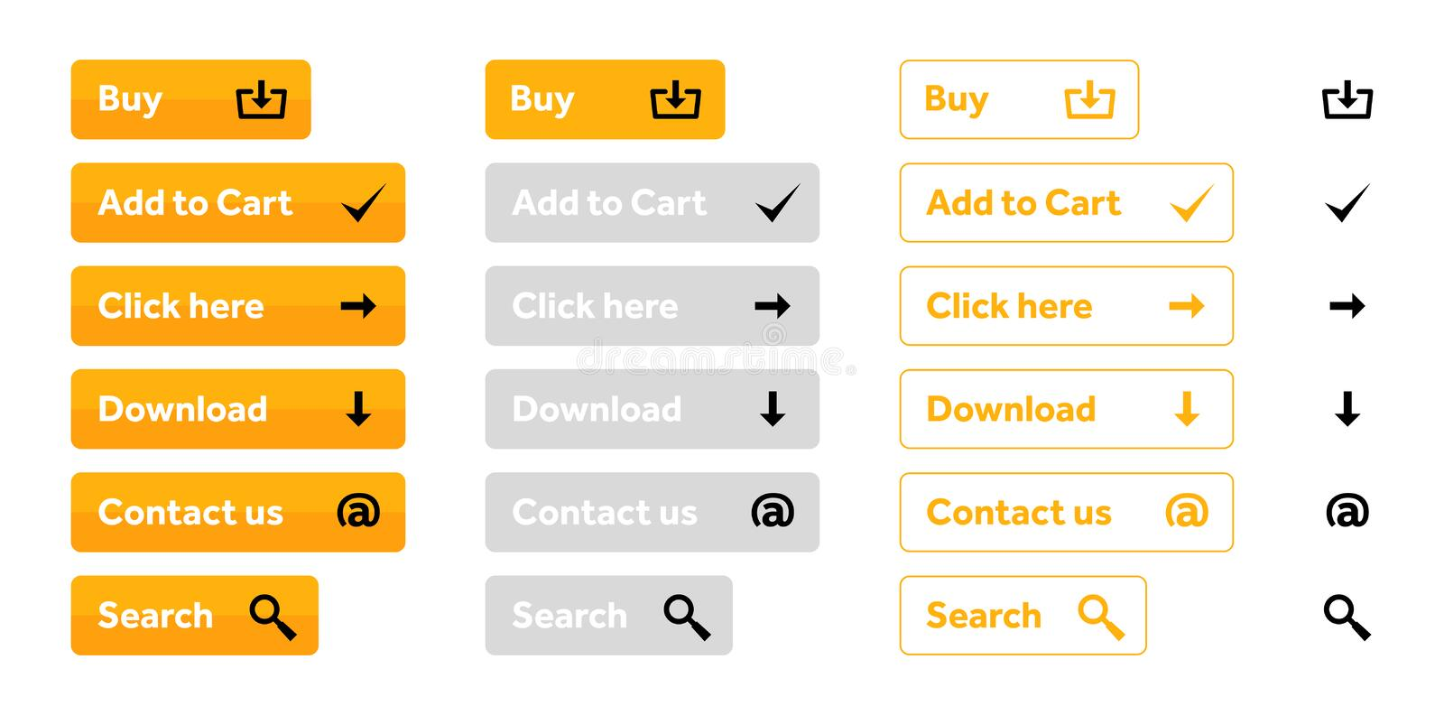 Orange set of web buttons with icons royalty free stock image