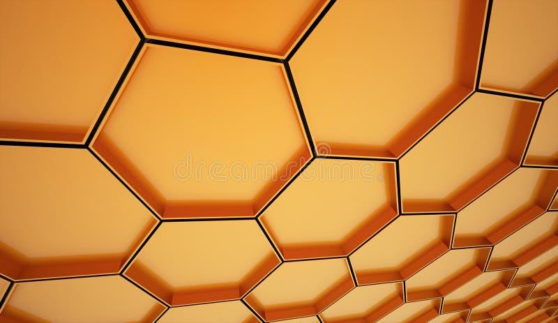 Orange sexhörnig cellbakgrund vektor illustrationer