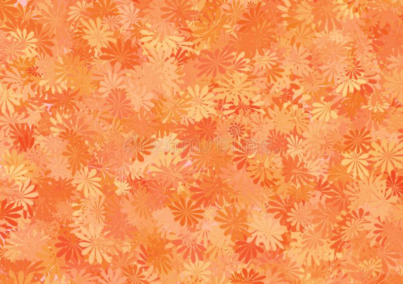 Orange shade floral pattern layered wallpaper. For use as background image with design vector illustration