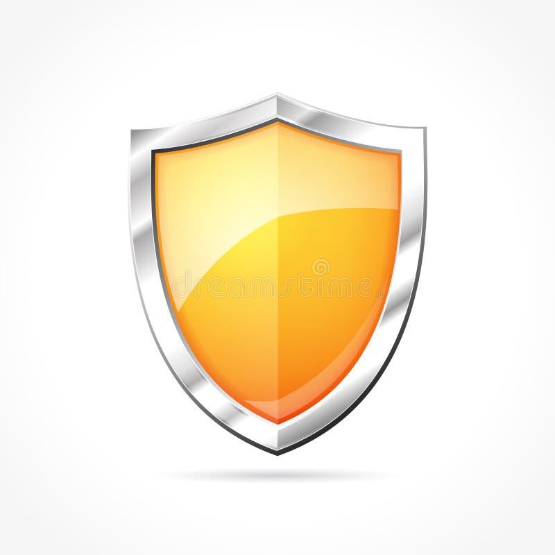 Orange shield icon. Illustration of orange shield icon royalty free illustration