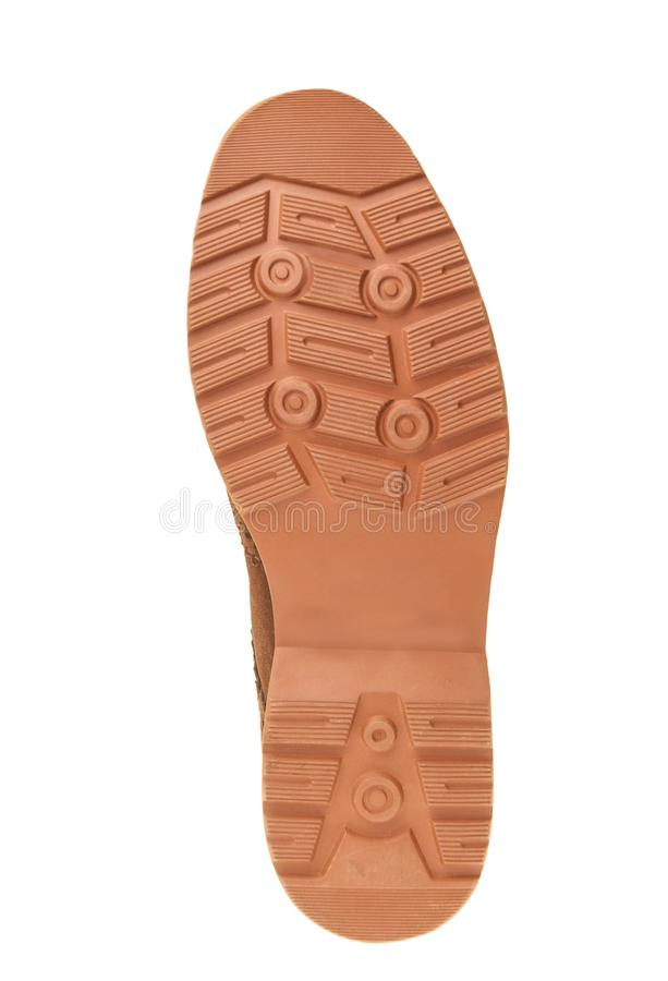 Orange shoes sole footprint footstep isolated on white background stock photography