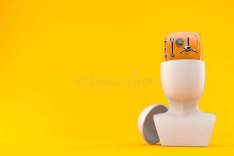 Orange sicheres innerhalb des Kopfes lizenzfreie abbildung