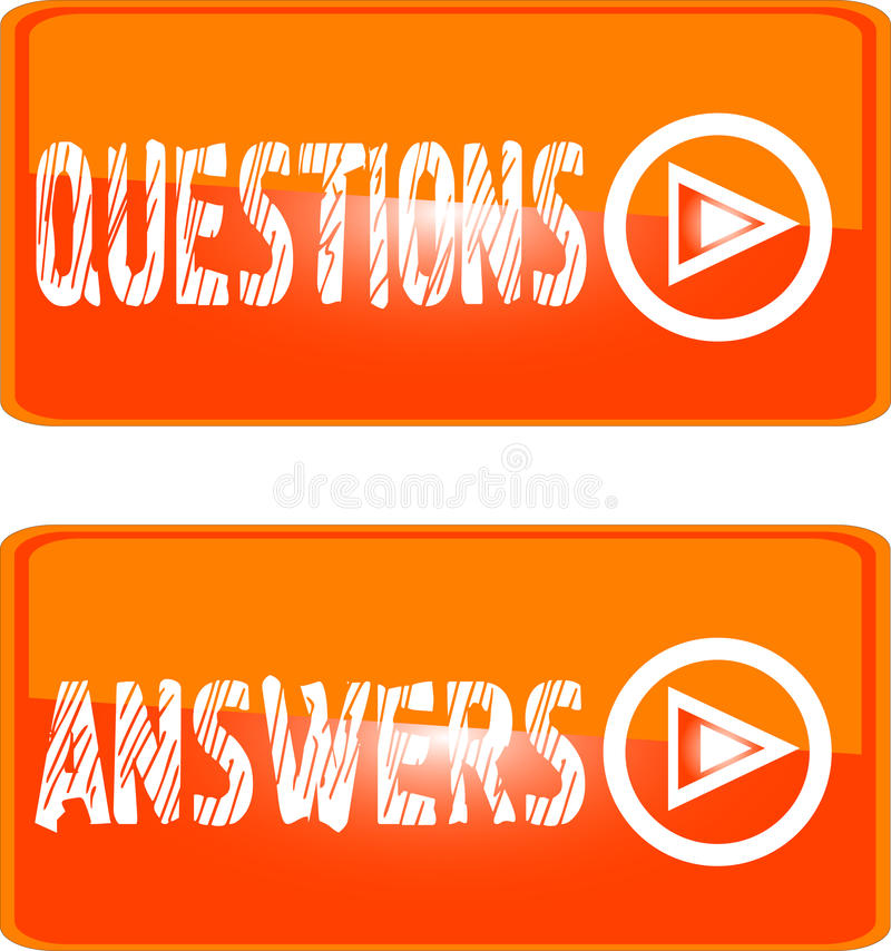Orange sign icon questions answers stock illustration