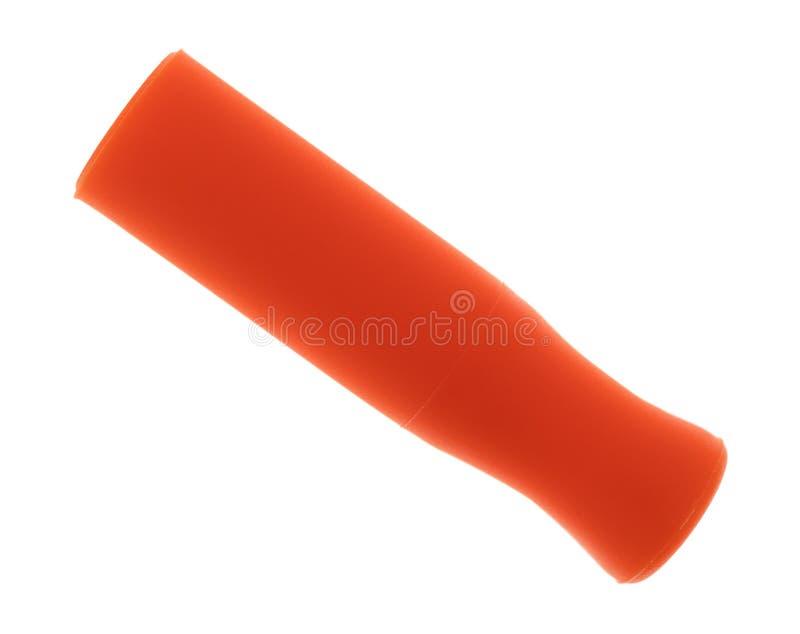 Orange silicone straw tip on a white background stock image