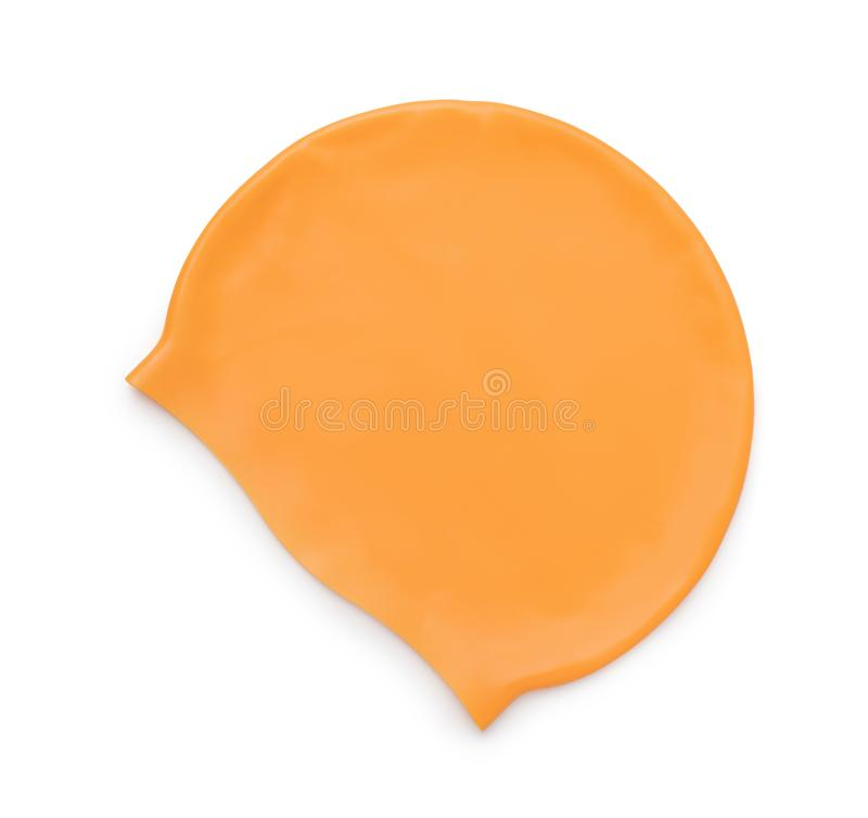Orange silicone swim cap stock photos