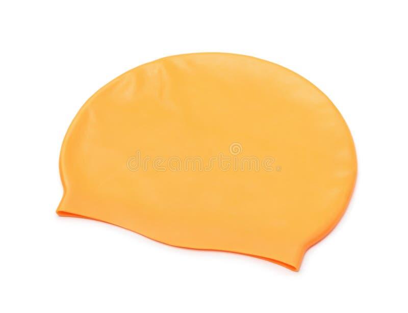 Orange silicone swim cap. Isolated on white stock images