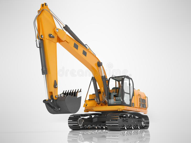 Orange single bucket excavator with hydraulic mechpatoy on metal driven track 3D render on gray background with shadow. Orange single bucket excavator with royalty free illustration