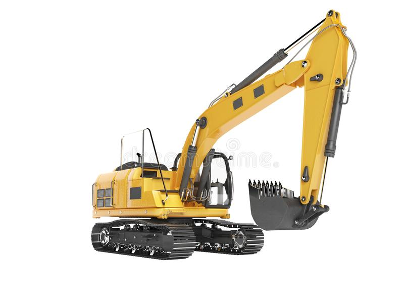 Orange single bucket excavator with hydraulic mechpatoy on tracked metal go isolated 3d render on white background no shadow. Orange single bucket excavator with stock illustration