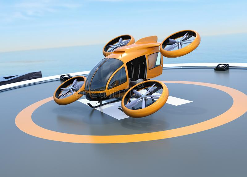 Orange själv-körande passageraresurrstart från helipad stock illustrationer