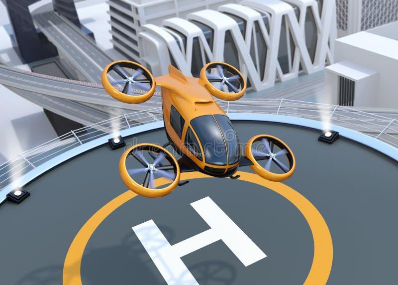 Orange själv-körande passageraresurrstart och landa på helipaden royaltyfri illustrationer