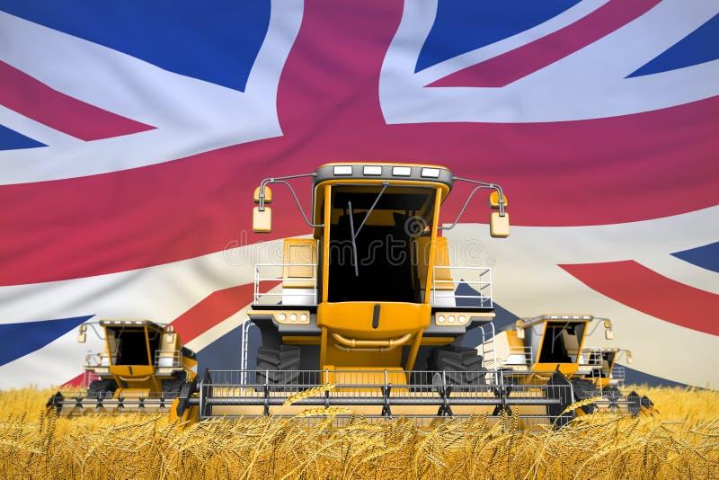 4 orange skördetröskor på vetefält med flaggabakgrund, Förenade kungariket UK åkerbrukt begrepp - industriell 3D royaltyfria bilder