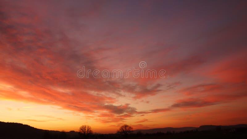 Orange skies at sunset stock photo