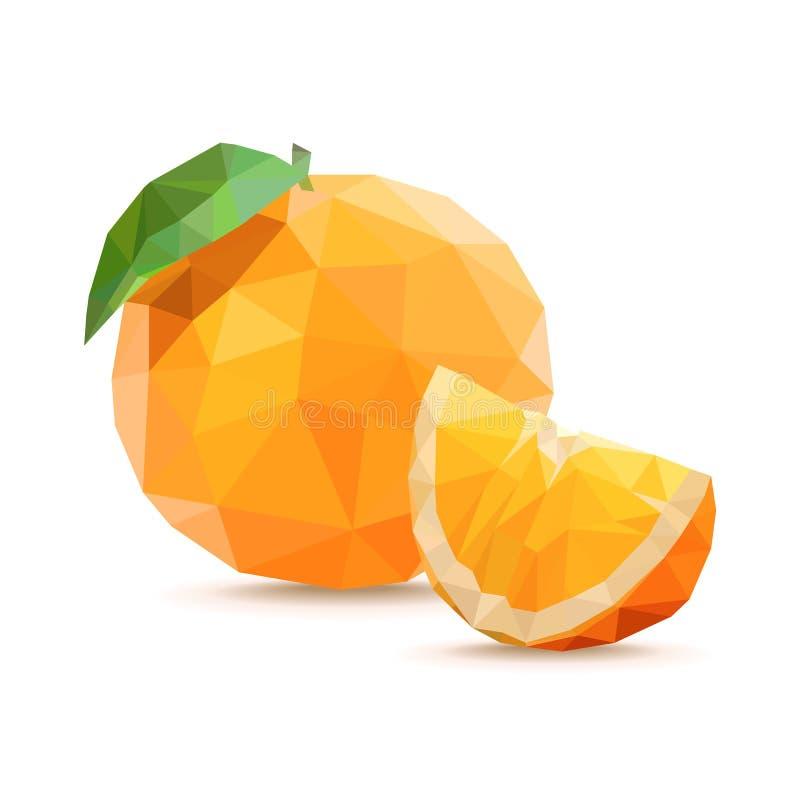 orange skiva Låg poly vektorillustration som isoleras på en vit bakgrund vektor illustrationer