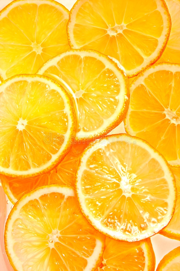 orange skivor royaltyfria bilder