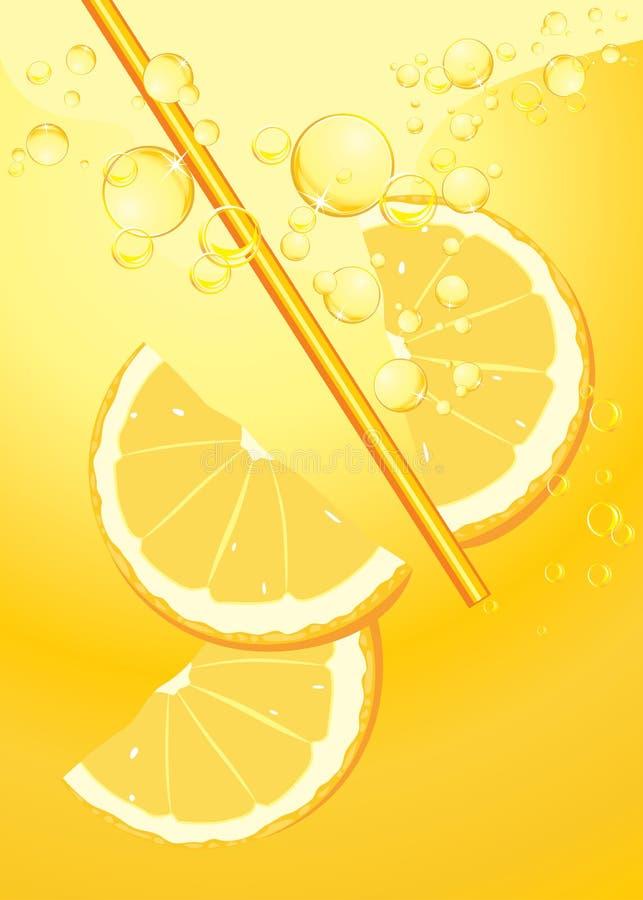 Orange skivor i lemonadefärgstänk stock illustrationer