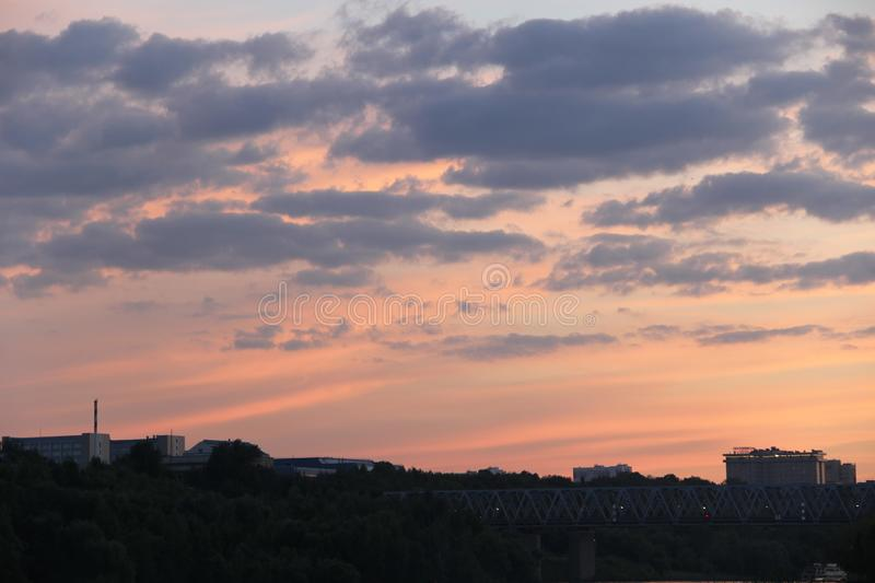 Orange sky with clouds at sunset in the evening. Photo 7 royalty free stock photo