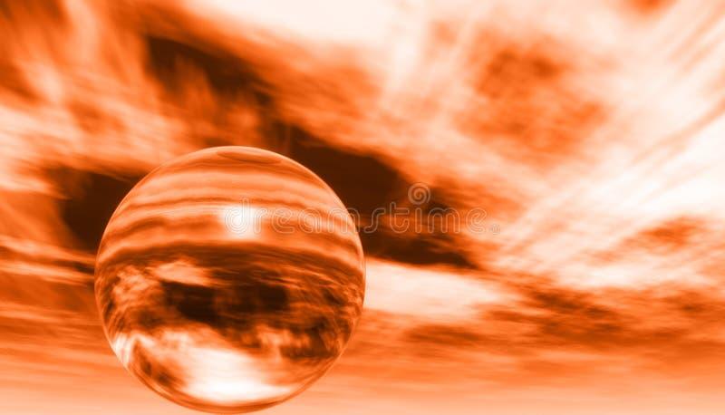Orange Sky Whit Ball Stock Photo