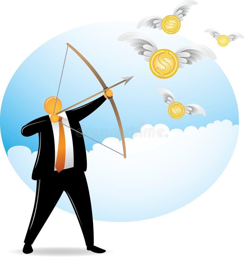 orange skytte för dollarflyghuvud stock illustrationer