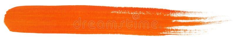 Orange slaglängd av gouachemålarfärgborsten arkivfoto