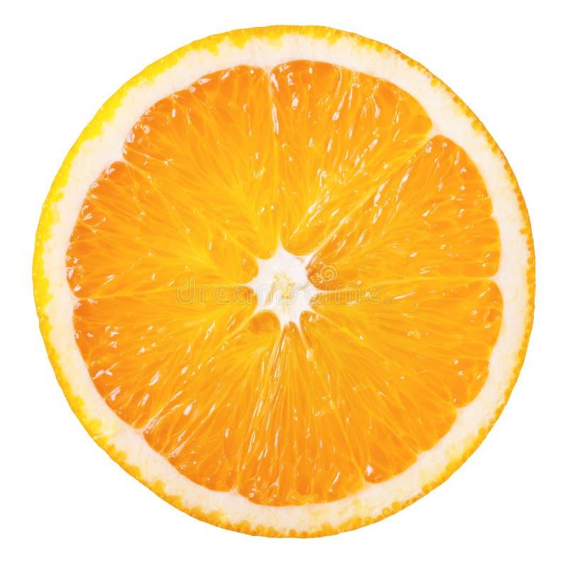 Orange slice. Slice of fresh orange isolated on white background royalty free stock photography