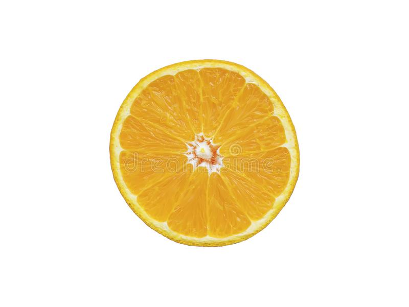 Orange slice isolated on white background with clipping path royalty free stock images