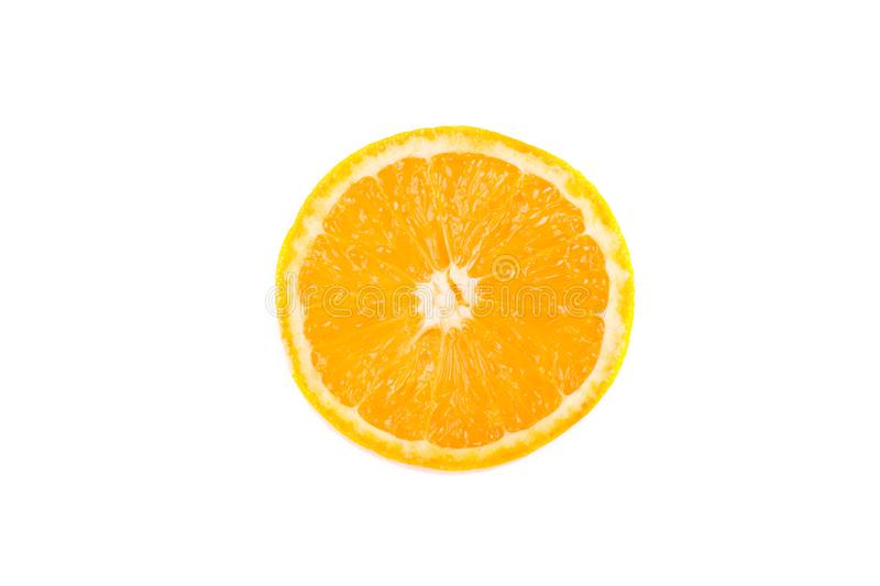 Orange slice isolated on white background. Fresh orange slice isolated on white background beautiful citron citrus clipping path closeup color cut cutout dessert royalty free stock photos
