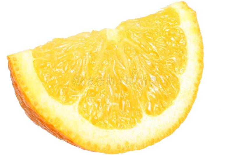 Orange slice isolated on white background. macro stock image