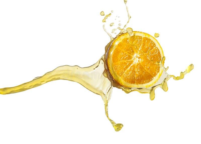 Orange slice in juice stream isolate on white.  royalty free stock images