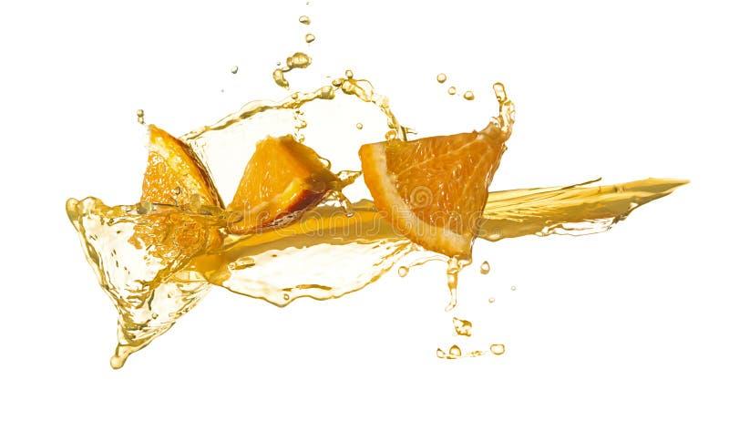Orange slice in juice stream stock image
