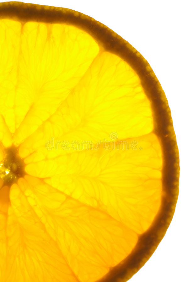 Orange slice on a light table. (vertical back lighted royalty free stock photography