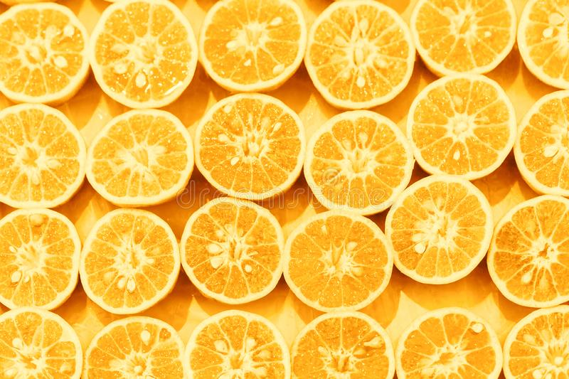 Orange slice pattern colorized pop art background.  royalty free stock photography