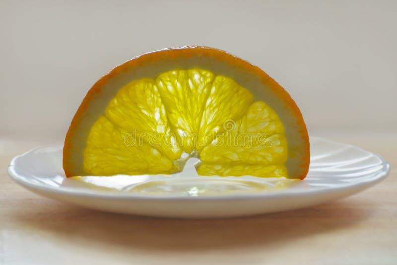 Orange Slice On White Plate.  royalty free stock photo