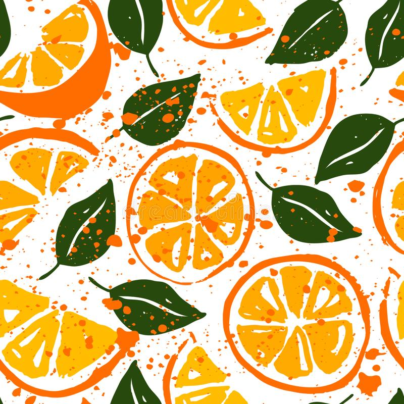 Watercolor seamless vector pattern with oranges. Orange slices and green leaves on white background. Watercolor seamless vector pattern. Wallpaper, textile royalty free illustration