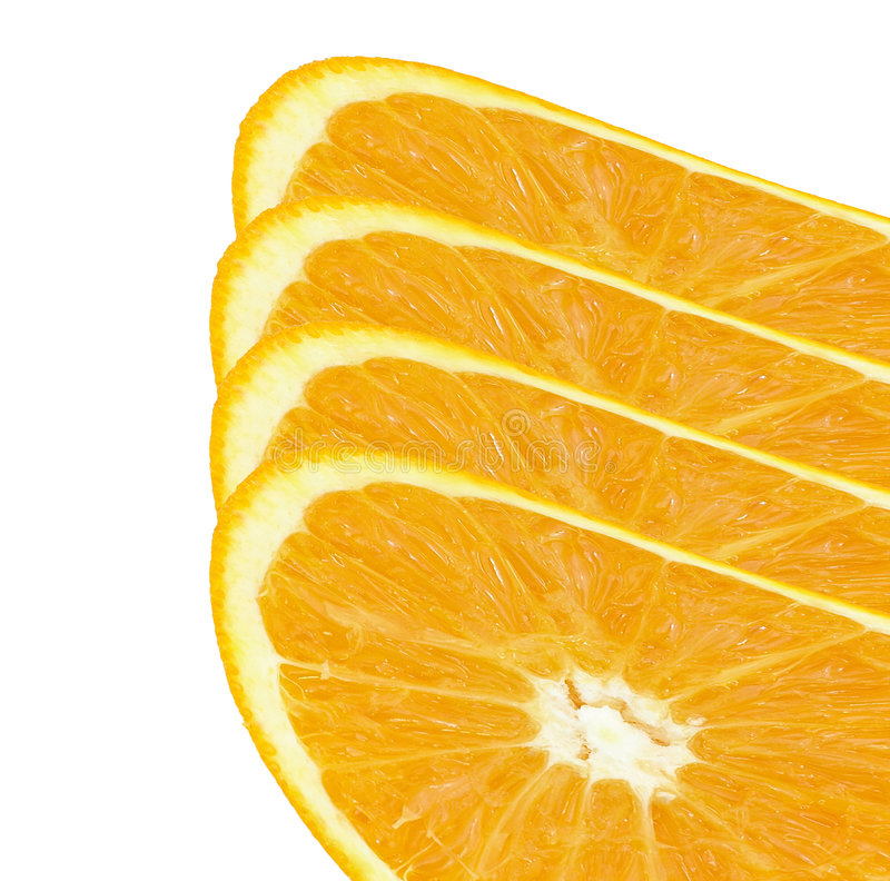 Orange slince. A perfectly round orange slice isolated on a white background stock photo