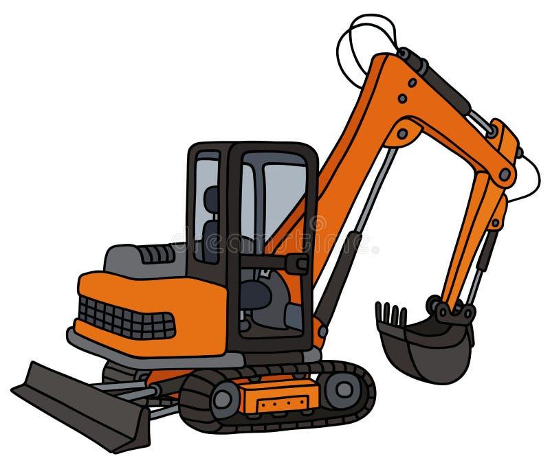 Orange small excavator vector illustration