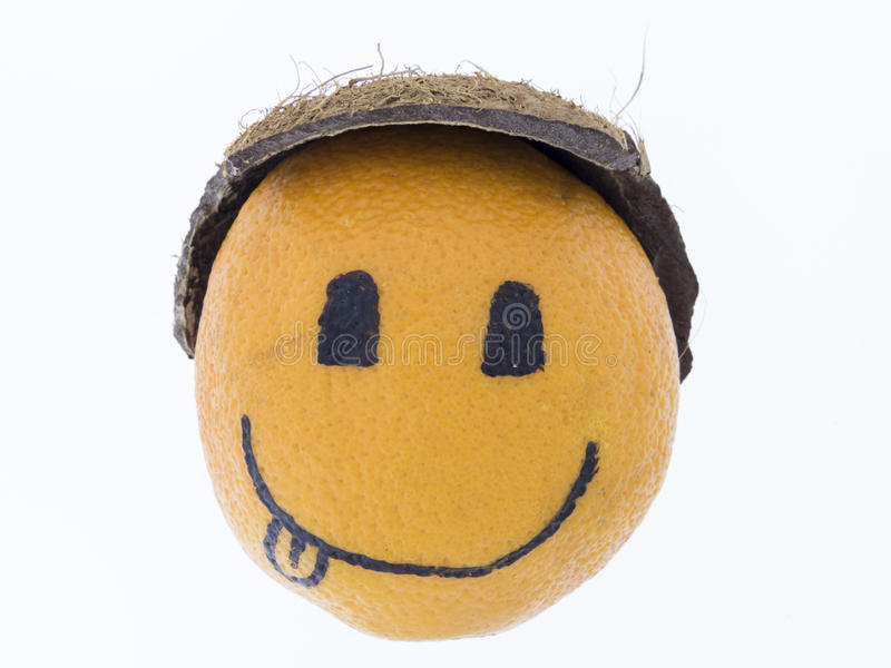 Orange with a smiley - good humor, fun and pleasure stock photography