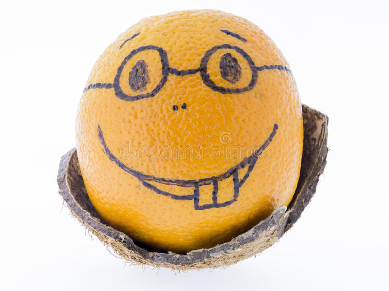Orange with a smiley - good humor, fun and pleasure royalty free stock images