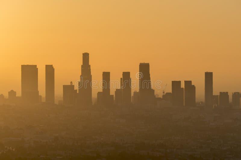 Orange Smog-Himmel Los Angeless lizenzfreies stockfoto