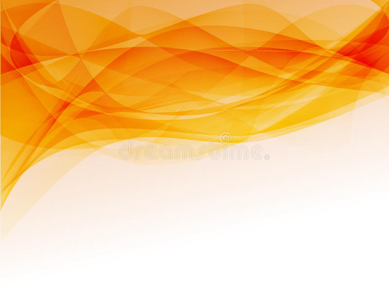 Orange smoke. Abstract orange waves background with white space on the bottom stock illustration