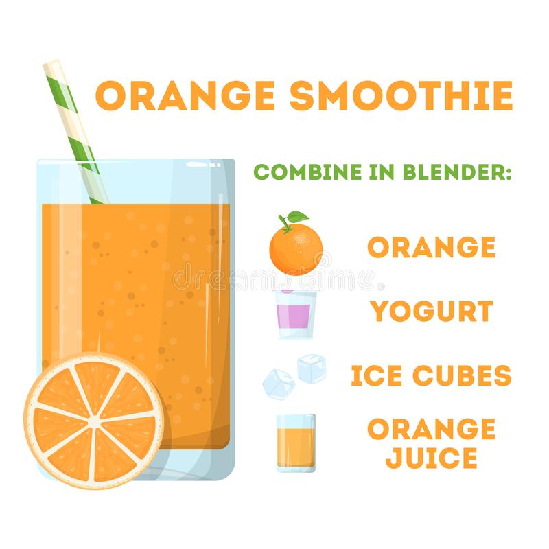 Orange smoothie, fresh healthy cocktail. Vegetarian organic royalty free illustration