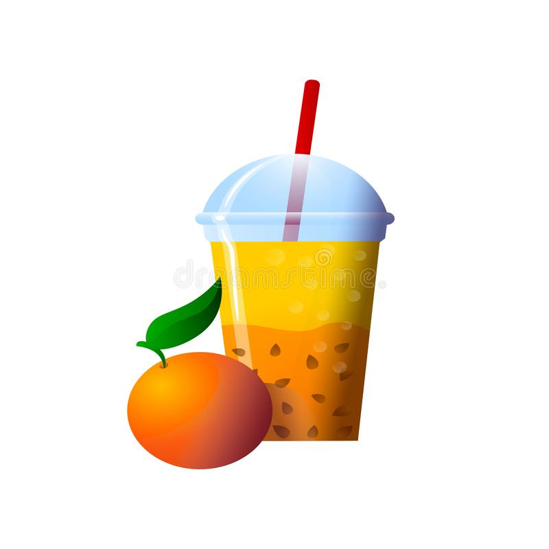 Orange Smoothies in a cup. Superfoods and health or detox diet food concept in sketch style. Vector illustration of different food products on white stock illustration