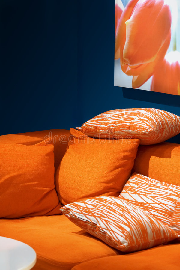 Orange Sofa lizenzfreies stockfoto