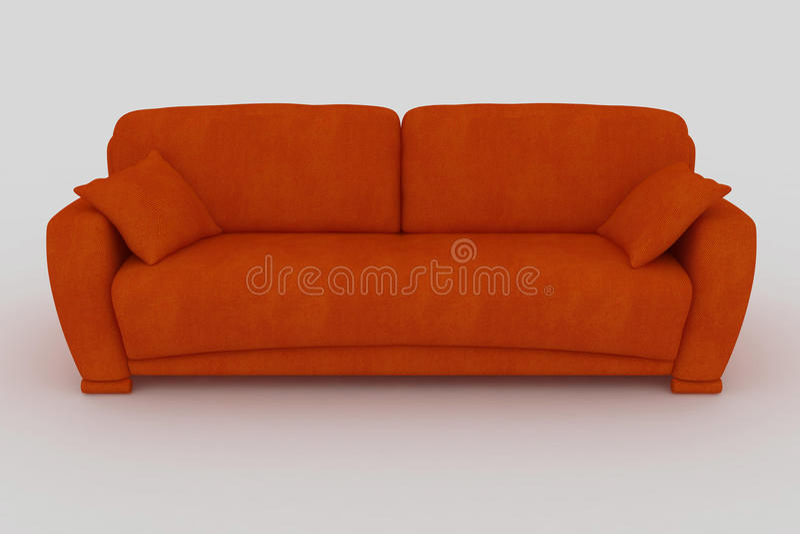 orange sofa royaltyfri fotografi