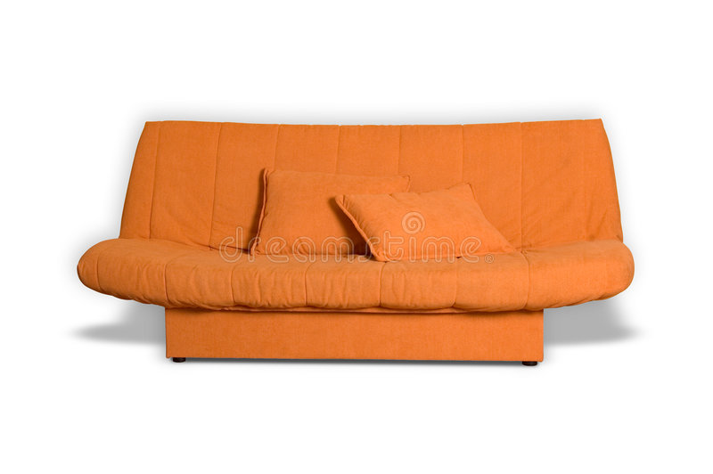 orange sofa royaltyfri foto