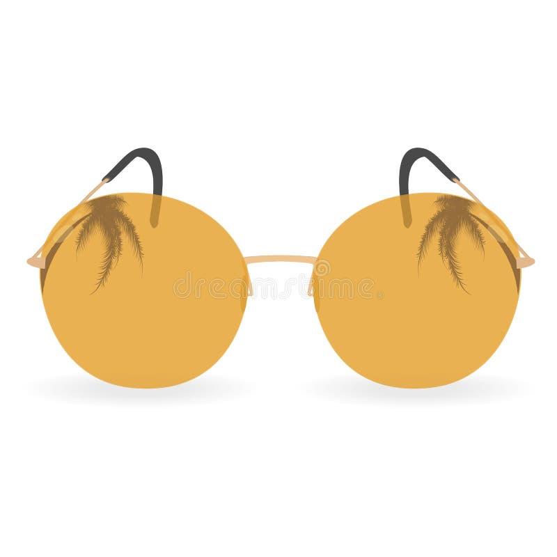 Orange solglasögon med palmträd arkivbilder