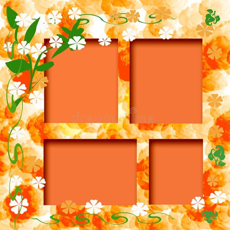 orange soligt för ram vektor illustrationer